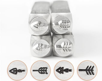 Arrow stamp pack, decorative metal stamps, impressart stamps, arrow metal stamps, 6mm stamps, 4 pack metal stamps, jewelry diy stamps