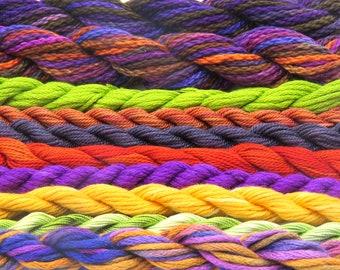 Silk, purple, orange, green, red, cotton, needlepoint, fibers, embroidery threads, thread assortment, hand dyed threads, Sale, Black Friday