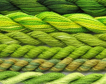 Silk, green, yellow, grass green, khaki, needlepoint, fiber, embroidery threads, thread assortment, hand dyed thread, Sale, Black Friday