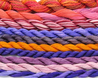 Silk, shades of purple, orange and lilac, cotton, needlepoint, fiber, embroidery, thread assortment, hand dyed thread, Sale, Black Friday
