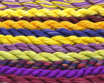 Silk, shades of purple, yellow and orange, cotton, needlepoint, fiber, embroidery, thread assortment, hand dyed thread, Sale, Black Friday