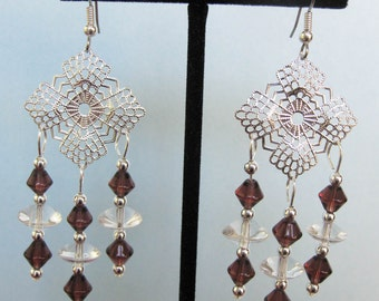 Purple & Clear Glass Filigree Chandelier Earrings
