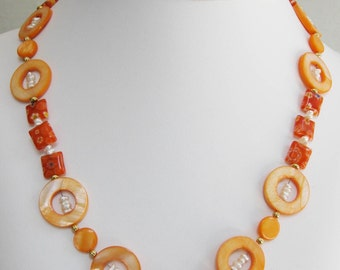Orange Mother of Pearl Donut and Millefiori Necklace