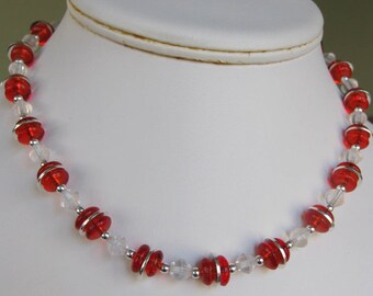 Red & Clear Glass Rondelle Bead Choker