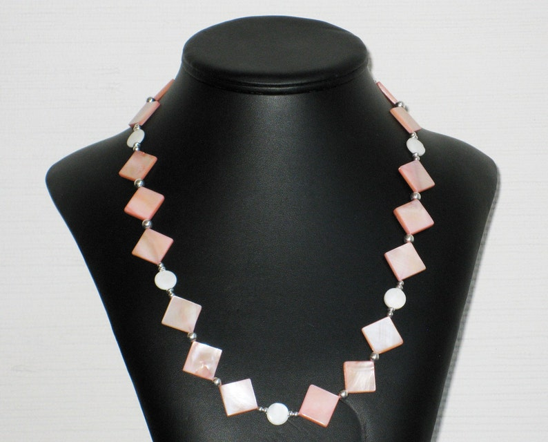 Peach Mother of Pearl Diamond and Circle Necklace