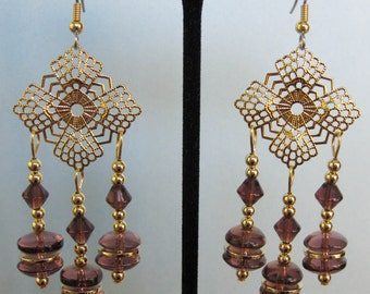 Purple Glass Filigree Chandelier Earrings