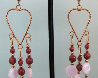 Brown Goldstone and Mother of Pearl Heart Earrings