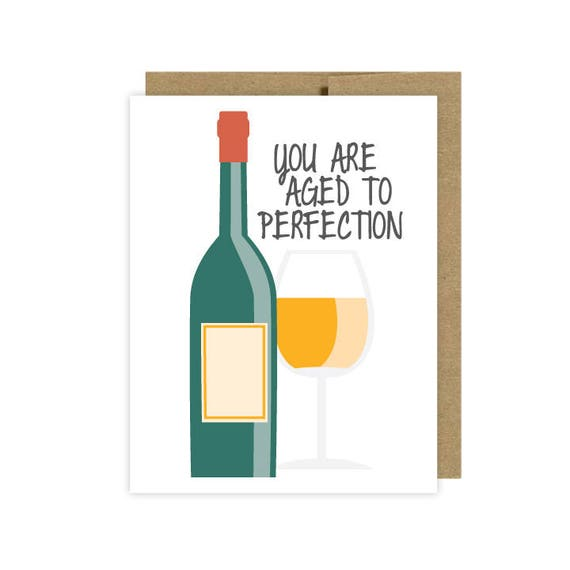 Wine Birthday Card Aged To Perfection Etsy