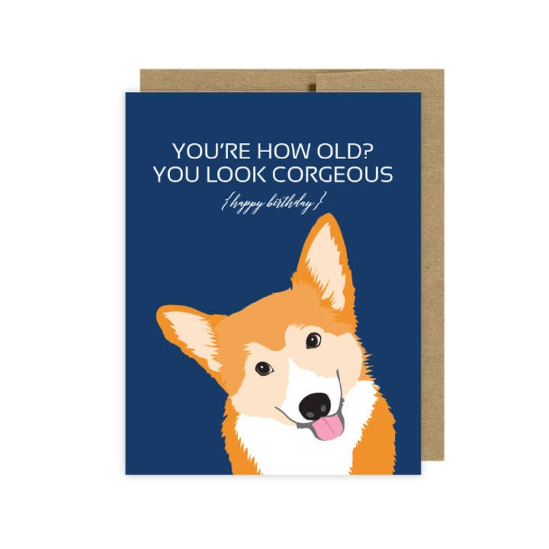 Dog Cards Corgi Birthday Card Etsy