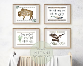 INSTANT Download - DESERT Nursery Gallery Wall Art Set, Tribal Prints, Boho Boys Room, Bible Verse Printables for Boys, Cactus Nursery Theme