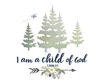 Child of God - Girls Alpine Woodland Nursery print, Blue and Yellow Nursery Art, Girls Forest Nursery, Woodland Nursery Decor, NO Pink