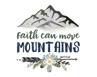 Faith Can Move Mountains Print, NO PINK Nursery, Girls Woodland Nursery Print, Bible Verse Print, Blue and Yellow Nursery Art, Nursery Decor