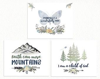 WOODLAND Nursery GALLERY WALL, Girls Nursery Prints with Bible Verses, Woodland Nursery Wall Art Set, Butterfly Print, Alpine Forest Nursery