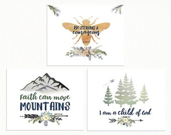 Girls ALPINE Woodland Gallery Wall - Bible Verse Prints for Girls Nursery, Woodland Bee Print, Girls Nursery Wall Art, Nursery Gallery Wall