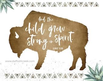 BUFFALO Print for Boys Nursery - Bible Verse Print, Bison Nursery Print, Desert Nursery Theme, Modern Nursery Art, Buffalo Nursery Decor