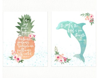 GIRLS Tropical Nursery Prints with Bible Verses, Set of Two, Dolphin Print, Fruits of the Spirit, Pineapple Print, Modern Tropical Nursery