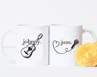 Couples Mug Set - Johnny and June, Valentine's Day Gift, Anniversary Present, Cute Anniversary Gift, Johnny Cash, Mug Gift