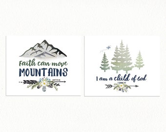 BIBLE VERSE Prints - Girls Woodland Nursery, Set of Two Nursery Prints, Forest Woodland Prints, Blue and Yellow Nursery, Girls Nursery Decor