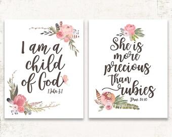 Girls Bible Verse - Girls Nursery Art, Watercolor Print for Nursery, Scripture Verse for Girl, Girls Room Wall Art, Pink Girls Wall Art