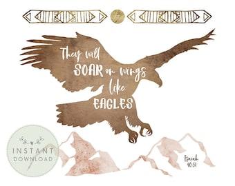 INSTANT DOWNLOAD, DESERT Nursery Printable, Modern Girls Nursery, Eagle Printable, Soar on Wings Like Eagles, Girl Bible Verse Printable