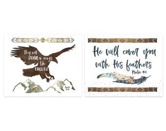 TRIBAL Nursery Print Set - Two Boho Feather Prints for Boys, Bible Verse Art, Eagle Nursery Print, Tribal Decor, Modern Nursery Art, Desert