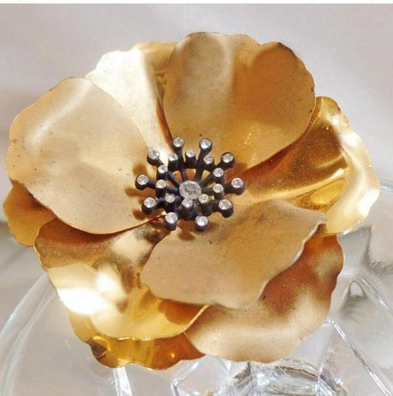 b1cfd8888 Flower Brooch. Gold Rhinestone Flower Brooch. Large Brushed   Etsy