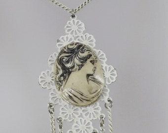 White Cameo Necklace.  White Enamel Cameo Pendant. Victorian Revival Cameo Necklace. White Necklace. waalaa. Necklaces for Women.