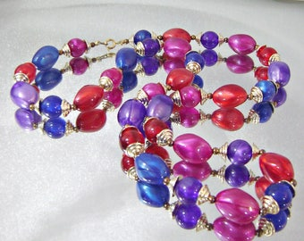 Vintage Necklace. Beaded Necklace. Long Necklace. Red Purple Blue Necklace. Jewelry for Women.  Necklaces for Women. waalaa