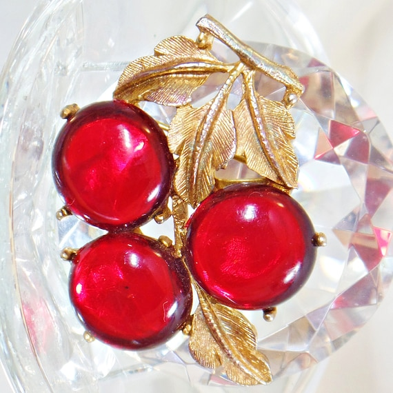 Cherry Brooch. Red Cherries Brooch.  Cherry Amber