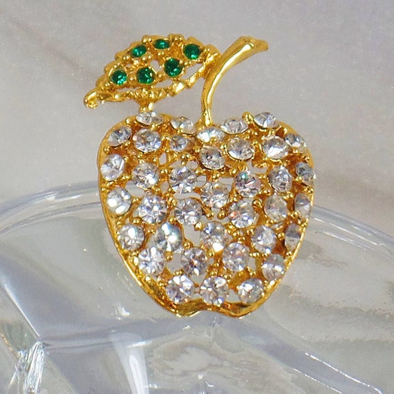 Rhinestone Apple Brooch.  Clear Rhinestones Apple