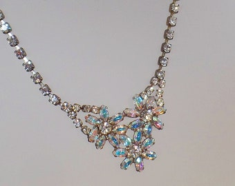 Marquise Rhinestone Necklace. AB Clear Rhinestones Necklace. Wedding Necklace. Princess Necklace. waalaa