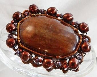 Large Bronze Bead Brooch.  Hand Wired Asymmetrical Bronze Brown Copper Pin. waalaa.