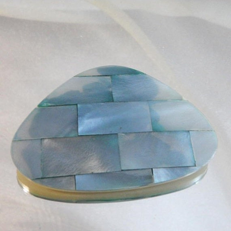 Pale Blue Abstract Triangle Pin Large waalaa. Blue Mother of Pearl Brooch Lucite