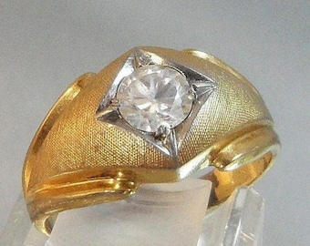 Men's Ring. Large CZ Solitaire. 14k Gold Electroplated. waalaa.