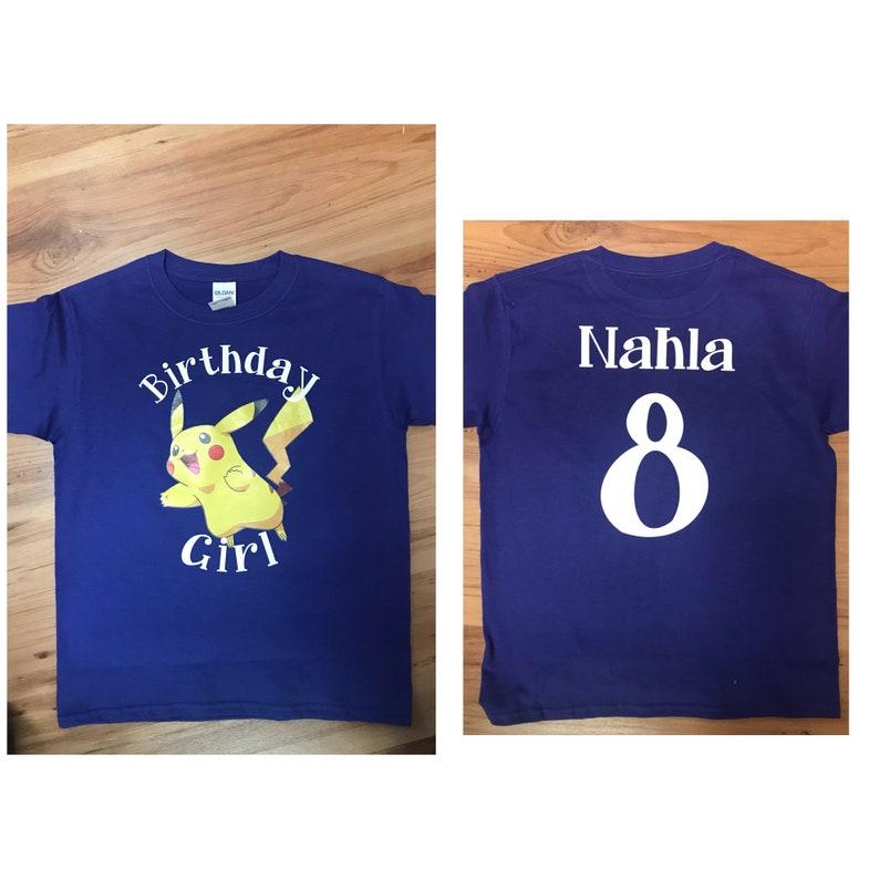 0b525ddb Pokemon Pikachu Birthday t shirts Personalized | Etsy