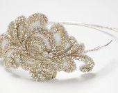 Vivian - Embroidered bridal side Tiara, Wedding Headband, Crystal beaded headband, Silver Rhinestone Beaded Bridal Tiara, Hair Accessories