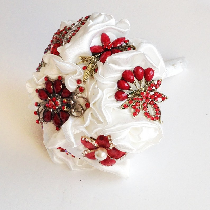 Medium made to order Bridal Brooch Fabric modern wedding bouquet Satin Ivory handmade flowers with Red brooches