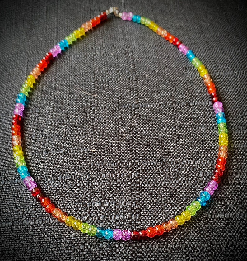 Thin rainbow glass bead necklace glass beaded necklace 4mm beads beaded rainbow necklace rainbow necklace