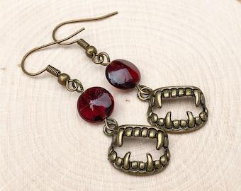 Blood Red Vampire Bite Earrings, Feminine Victorian Antique Brass Fang Charms, Pretty Bronze Halloween Accessories, Ruby Czech Glass Coins