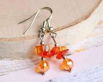 Fiery Red Yellow Orange Crystal Earrings, Glam Fashion, Tangerine Disco Ball Earrings, Cute Citrus Jewelry, Dainty Lightweight Accessories
