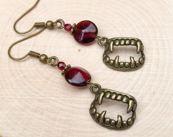 Blood Red Vampire Bite Earrings, Victorian Antique Brass Fang Charms, Czech Glass Coin, Ruby Crystal, Cute Bronze Halloween Accessories