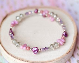 Feminine Lilac Coral Wrap Bracelet, Pink Rhodonite Gemstone Bracelet, Royal Purple, Violet Freshwater Pearl, Unique Eclectic Gifts for Women