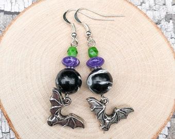 Silver Vampire Bat Charm Earrings, Green Czech Glass Spooky Retro Jewelry, Purple Stone Halloween Accessories, Black Vintage Swirled Baubles