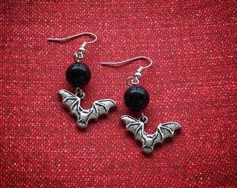 Silver Vampire Bat Charm Earrings, Simple Black Vintage Lucite Bauble Earrings, Spooky Retro Halloween Jewelry, Costume Accessory, Bat Gifts