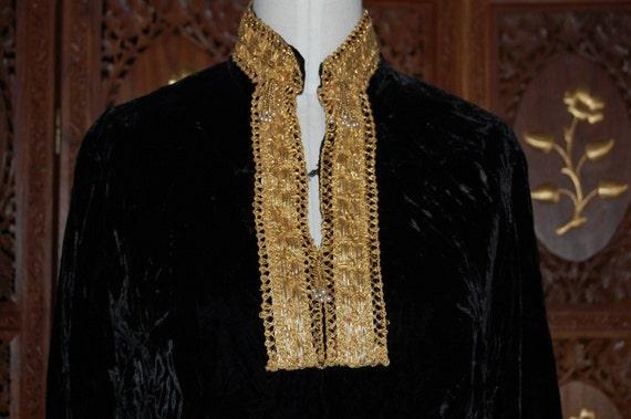 Vintage 1960s Original Black Velvet Nehru Dress wi
