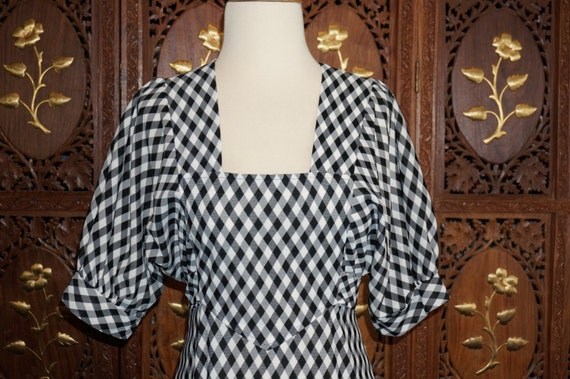 1980s Cracker Jax Black & White Gingham Maxi Dress