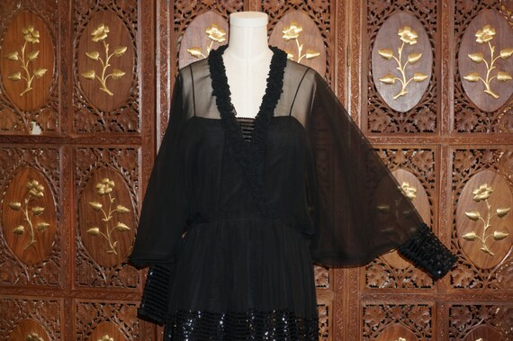 1970s Jean Varon Black Chiffon Dress