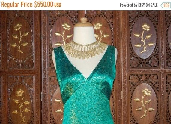 ON SALE Vintage 1960S Estevez Emerald Green & Met… - image 1