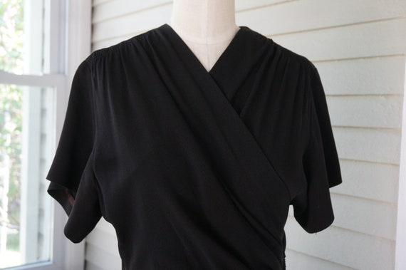 Vintage 1940s Black Silk Crepe Dress