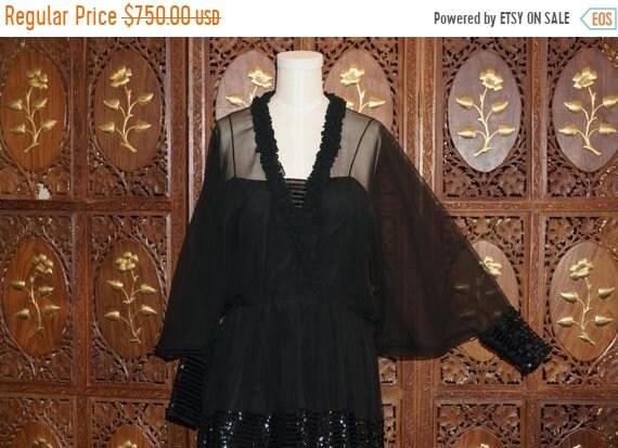 ON SALE 1970s Jean Varon Black Chiffon Dress